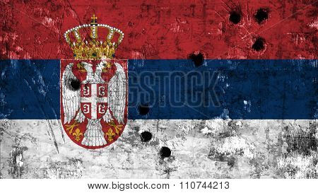 Flag of Serbia, Serbian Flag painted on metal with bullet holes