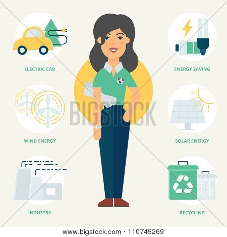 Profession: Ecologist. Vector Illustration, Flat Style