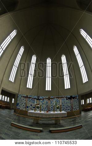 Architecture detail of ceiling inside Hallgrimskirkja, Reykjavik cathedral