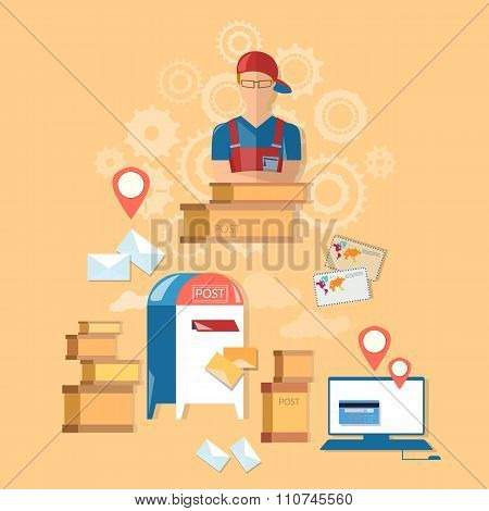 Postman Post Office Mail Delivery Service Vector Concept