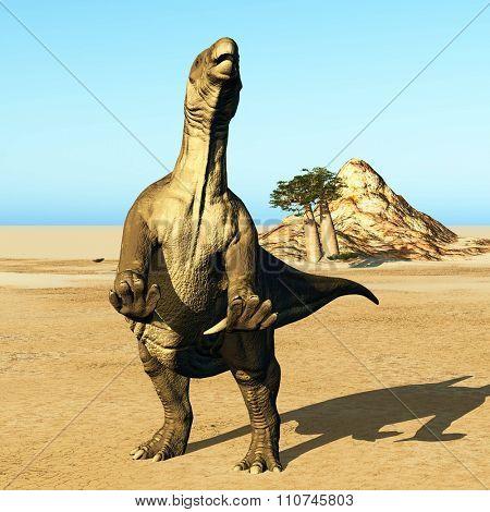 Iguanodon standing on hind legs in jurassic desert