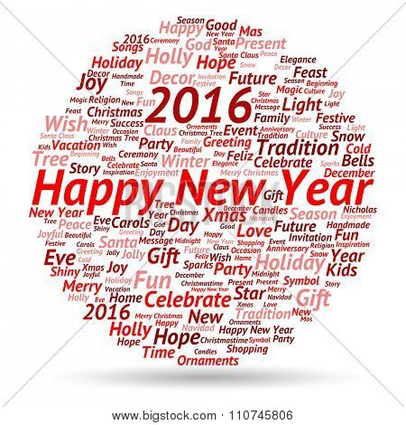 Concept conceptual Happy New Year 2016 or Christmas abstract holiday red text word cloud held in hand isolated, metaphor to happy, celebrate, eve, festive, future, joy, december, wish, jolly or santa