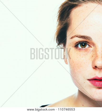 Woman Freckle Happy Young Beautiful Studio Portrait With Healthy Skin Half