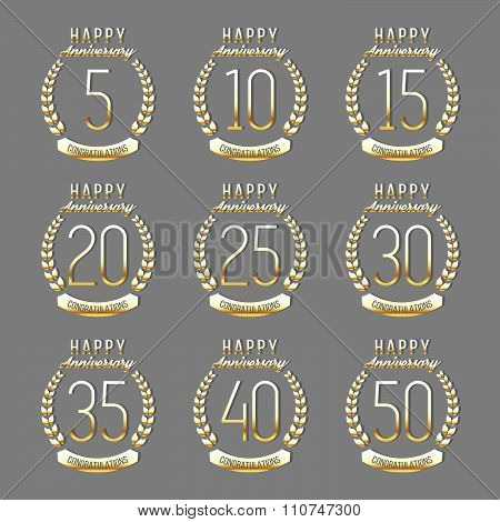 Five, ten, twenty, thirty, forty, fifty years gold jubilee design elements collection.