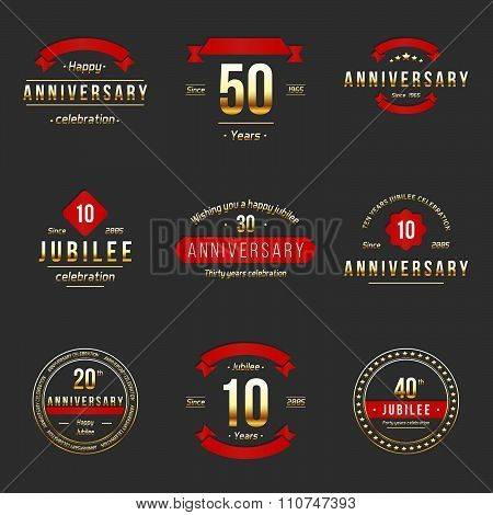 Ten, twenty, thirty, forty, fifty years jubilee design elements collection.
