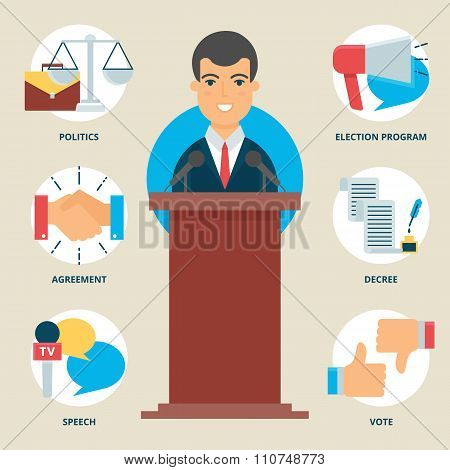 Profession: Politician. Vector Illustration, Flat Style