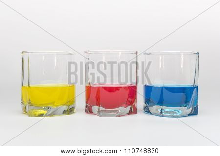 Three Glasses With Color Water