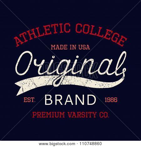 Vintage Hand drawn print Original brand for t-shirt