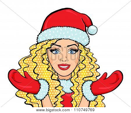 Vector Smiling Snow Maiden With Long Blonde Hair In Costume Isolated On White Background, Pop Art