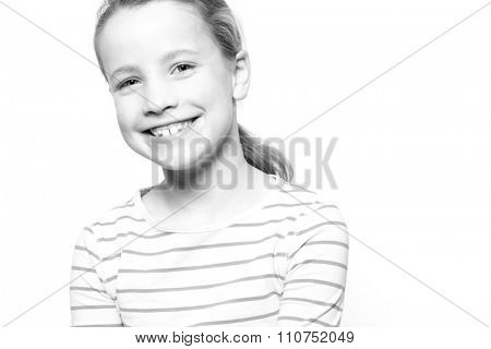 Portrait from a young girl in front of white background