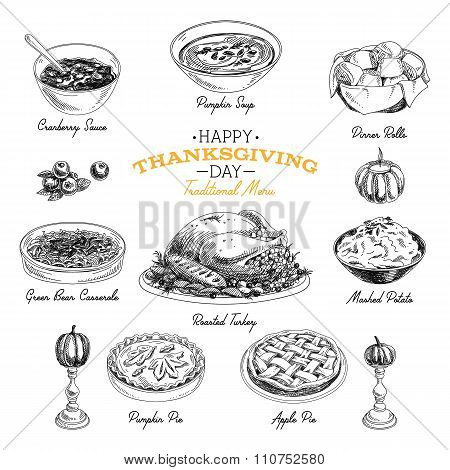 Vector hand drawn Thanksgiving food set.