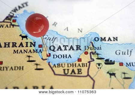 Qatar on a map