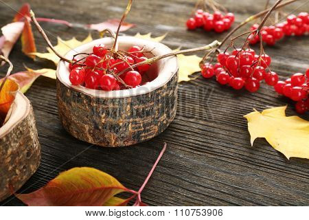 Composition of guelder-rose and autumn leaves on wooden background, close up