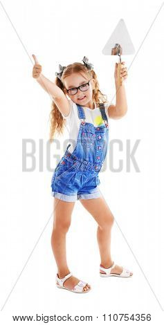 Happy girl with pallet isolated on white background