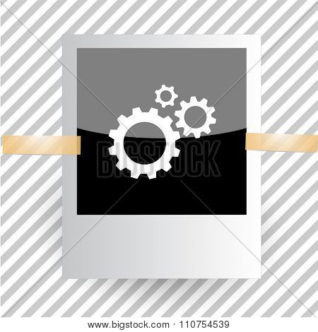 gears. Photoframe. Raster icon.