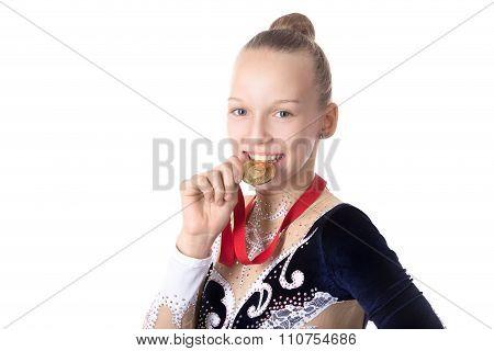 Gymnast Girl Biting Her Award Medal