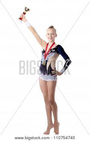 Champion Gymnast Girl With Award