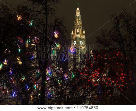 Christkindlmarkt Lights On Trees In Vienna At Night
