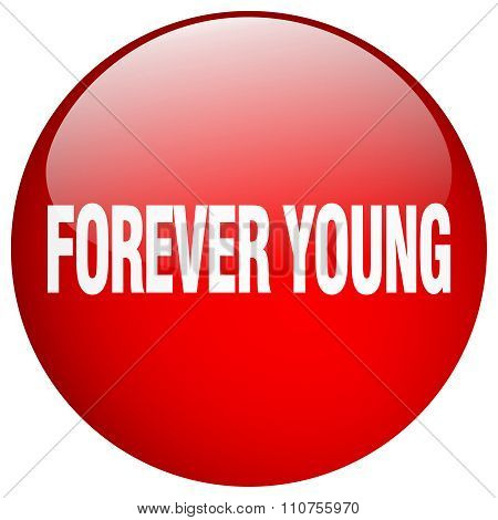 Forever Young Red Round Gel Isolated Push Button