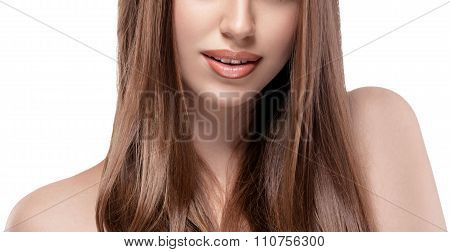 Beautiful Woman. Part Of Face Lips, Chin And Shoulders. Young Woman Portrait