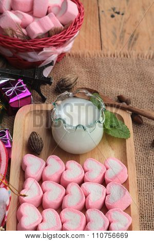 Heart Pink Marshmallow Sweet With Yoghurt Delicious.