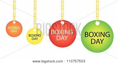 Boxing Day Circle Label Holding On A Goldenl Chain