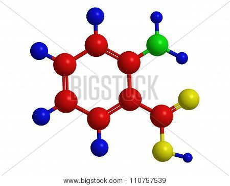 Molecular Structure Of Anthranilic Acid (o-amino-benzoic Acid)
