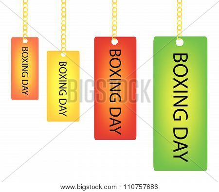 Boxing Day Rectangle Label Holding On A Goldenl Chain