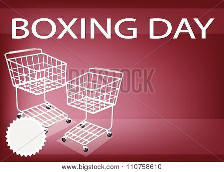 Two Shopping Cart On Boxing Day Background
