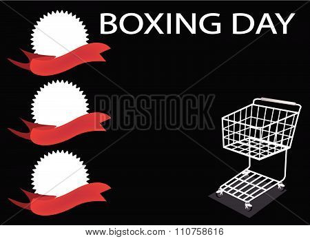 Shopping Cart And Banner On Boxing Day Background