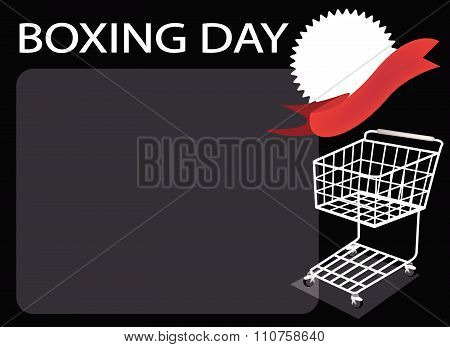 Shopping Cart And Blank Banner On Boxing Day Background