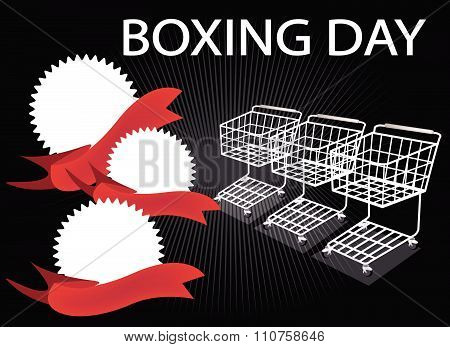 Shopping Carts And Banners On Boxing Day Background