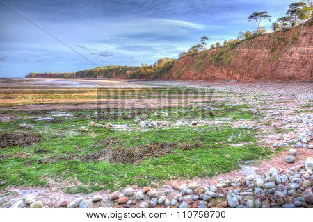 St Audries Bay Somerset England uk near Watchet in colourful HDR