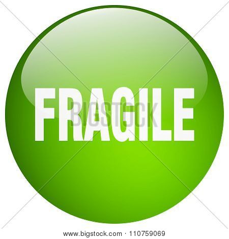 Fragile Green Round Gel Isolated Push Button