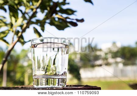 Refreshing Water In Transparent Glass  Against Blue Sky And Greenaries