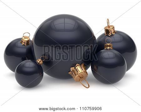 Christmas Ball Adornment Decoration Glossy Black New Years Eve