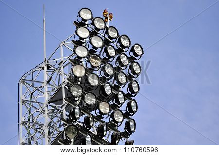 Broken Spotlight On Sports Arena Floodlights