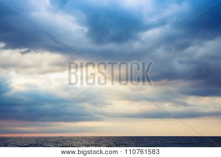 Dramatic Morning Seascape, Colorful Cloudy Sky