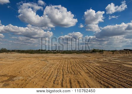 Land For Construction And Cloudy Sky
