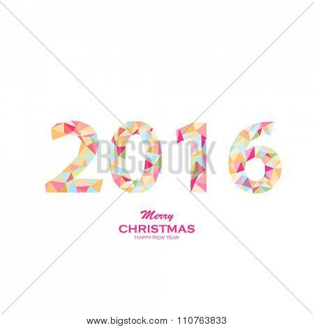 Happy New Year 2016 colorful greeting card made in polygonal origami style. Vector illustration for holiday design. Party poster, greeting card, banner or invitation. Number formed by triangles.