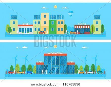 Two horizontal banners. Modern city. Large Supermarket. Alternative energy. Solar panels