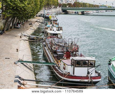 Houseboats Anchored Along The Seine, Paris