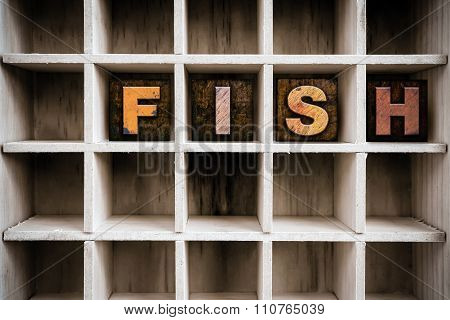 Fish Concept Wooden Letterpress Type In Draw