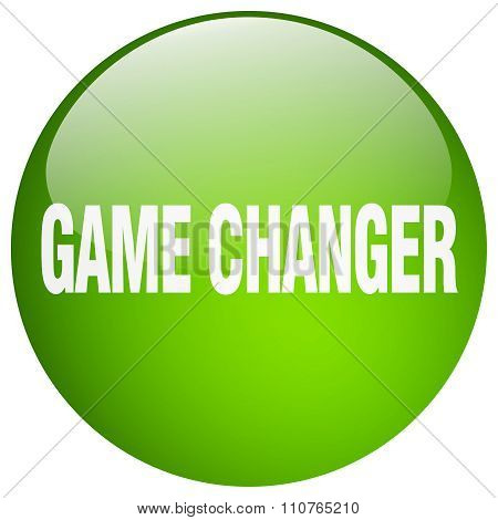 Game Changer Green Round Gel Isolated Push Button