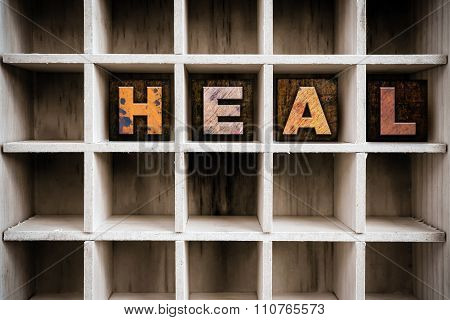 Heal Concept Wooden Letterpress Type In Draw