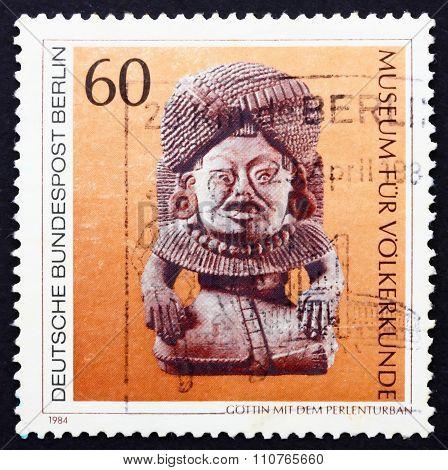 Postage Stamp Germany 1984 Stone God With Beaded Turban