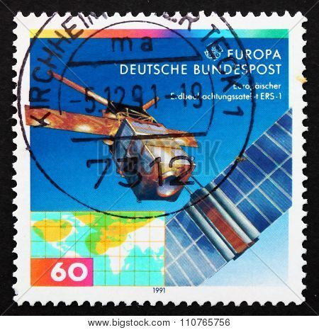 Postage Stamp Germany 1991 European Remote Sensing Satellite