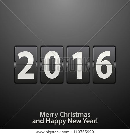 Abstract black and white New Year counter. Vector eps10 illustration