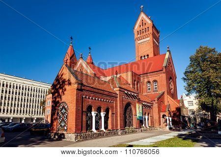 MINSK, BELARUS - OCTOBER 6, 2015: Church of Saints Simon and Helena on Independence Square, Minsk, Belarus