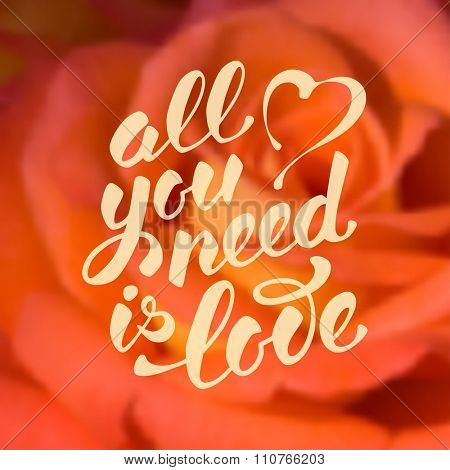 All you need is love. Romantic card on Valentines day. Handwritten modern brush calligraphy poster with lettering and rose flowers. Blurred background. Vector illustration.